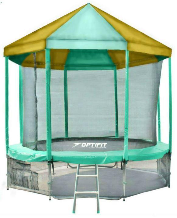 Батут Optifit Like Green 10ft с зелено-желтой крышей фото