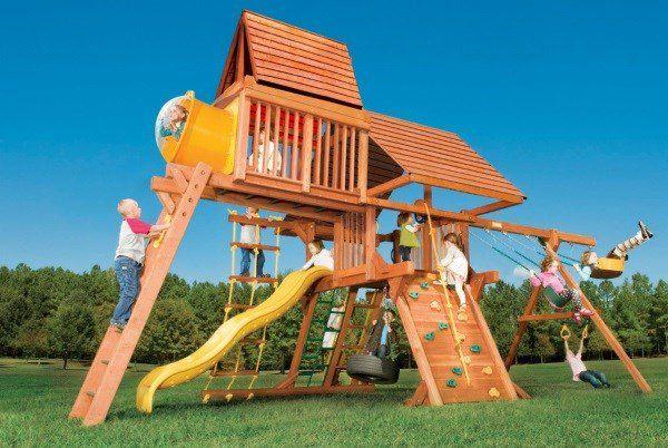 Игровая площадка Woodplay Castle Combo IV с деревянной крышей фото